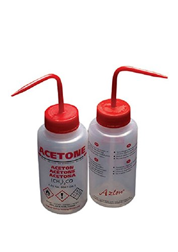 AZLON WGW531VTML Plastic, Wash Bottle Wide Mouth, Acetone, LDPE, Vent, 250 ml (Pack of 5)