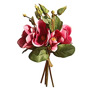 Vovomay_Artificial Flowers-Artificial Fake Flowers Leaf Magnolia Floral Wedding Bouquet Party Home Decor 12