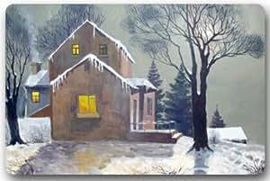 Alfombrillas para puerta de invierno rústico de madera para casa y lavadora, tela superior y goma antideslizante, duraderas, para interiores y exteriores.
