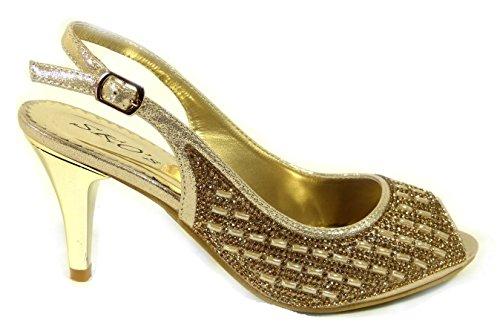 SKO'S 80367 pour femme Sandales Gold rRgrAFxq