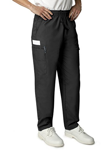 Elastic Waist Uniform Scrub Pants (Adar Universal Mens Natural-Rise Multipocket Cargo Tapered Leg Pants - 506 - Black - XS)