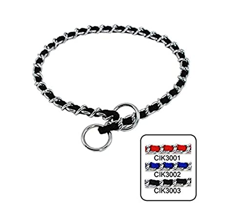 Strimm Metal Dog Chain Collar Slip Martingale Training Choker with Nylon Webbing Woven- Black - Nylon Chain