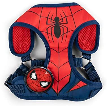 Marvel Comics Spiderman Superhero Dog Harness for Large Dogs | No Pull Dog Harness Dog Vest Harness | Red No Escape Large Dog Harness Spiderman Dog Costume in Size Large (L)