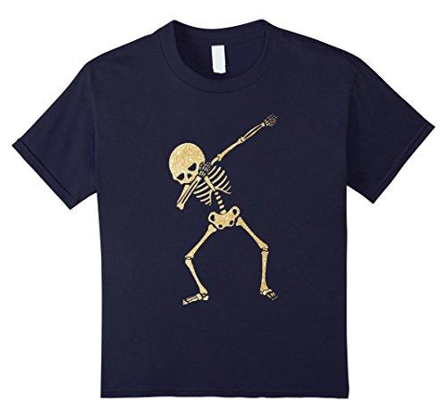 Halloween Costumes Medical Ideas (Kids Dabbing Skeleton Faux Glitter Halloween Costume Shirt 12 Navy)
