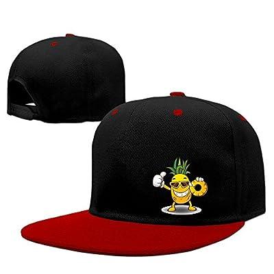 WellShopping Pineapple Boy Solid Flat Bill Snapback Baseball Cap Hip Hop Unisex Custom Hat.