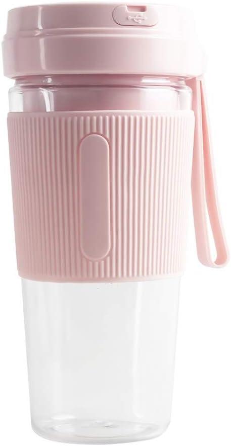 JHWSX Mini portátil de Blender, Recargable Jugo de Calidad alimentaria USB Extractor de Jugo de triturado de Hielo Batido Shake (400 ml) (Color : Pink)