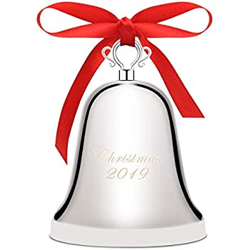 Luxiv Annual Christmas Bell 2019, Silver Bell Ornament for Christmas Anniversary Bells with Gift Box and Red Ribbon (2019, Nickel-Plated)