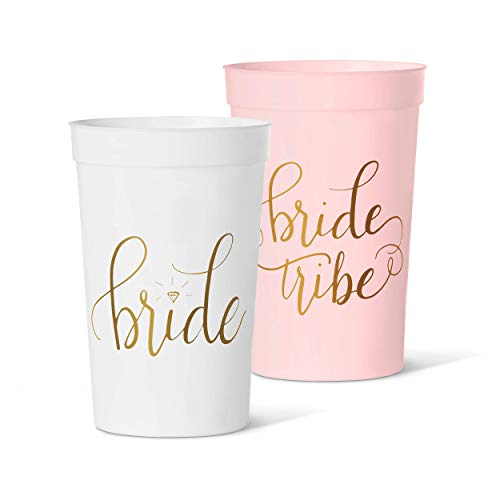 15 Piece Set of Bride Tribe 12 oz. Party Cups in Pink, Blue, Gold, Black, Navy, or Mint (Pink)