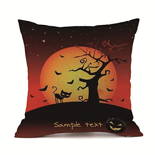 HomeMals Trick or Treat Halloween Throw Pillow Case Cushion Cover Cotton Linen for Sofa -