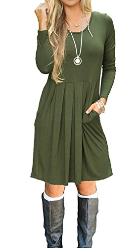 LILBETTER Womens Long Sleeve Plain Casual Fall Swing Dresses with Pockets Olive-XL