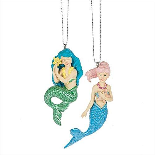 Midwest-CBK Girl Mermaid Aqua Blue Green 3 x 1 Resin Stone Christmas Ornaments Set of 2