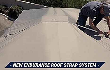 Tan and Gray Waterproof Fabric Goldline Class B RV Cover by Eevelle