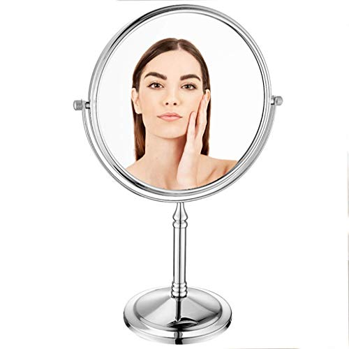 Countertop Vanity Mirrors,European-Style Tabletop Makeup Mirror, Double-Sided Beauty Mirror, 1X/3X Magnification,Adjustable,Rotating, -