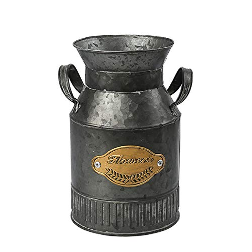 - S.H. Decorative Shabby Chic Rustic Style Binaural Metal Jug Pitcher Flower Vase Can for Home Decoration - Black