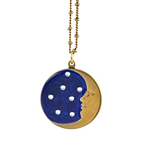 Anne Koplik Enamel Crescent Moon and Stars Pendant Necklace, Antique Gold Plated