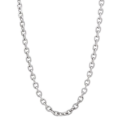 Durable Solid Stainless Steel 3mm Smooth Cable Link Chain Necklace, 24 inches + Microfiber Jewelry Polishing Cloth