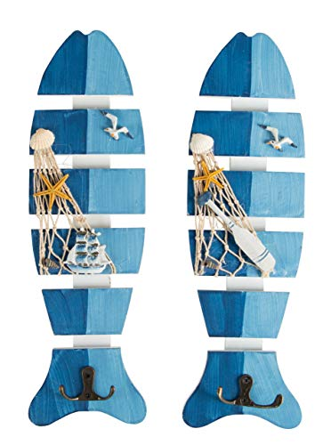 Wooden Fish-Shaped Wall Hooks - 2-Piece Ornament Board with Beach Nautical Design, Towel Hat Coat Double-Hook Hanger, 2-Tone Blue, 13.5 x 4 x 1.5 Inches