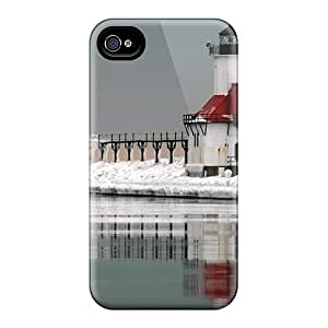 Hard Plastic Iphone 4/4s Case Back Cover,hot Dual Lighthouses On An Icy Pier Case At Perfect Diy