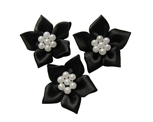 YYCRAFT 30pcs Satin Ribbon Flower with Sewn Pearls Applique for DIY Hair Bows Clips Craft,Wedding Bride Hair Accessory and Sewing Embellishment(Black,1.25