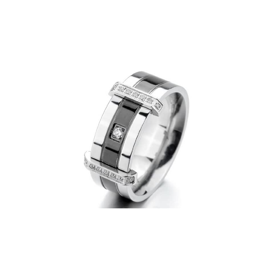 INBLUE Mens Stainless Steel Ring Band CZ Silver Tone Black Wedding