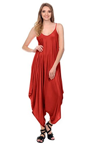 Womens Solid Color Ladies Spaghetti Strap Loose Fit Harem Jumper Romper Jumpsuit