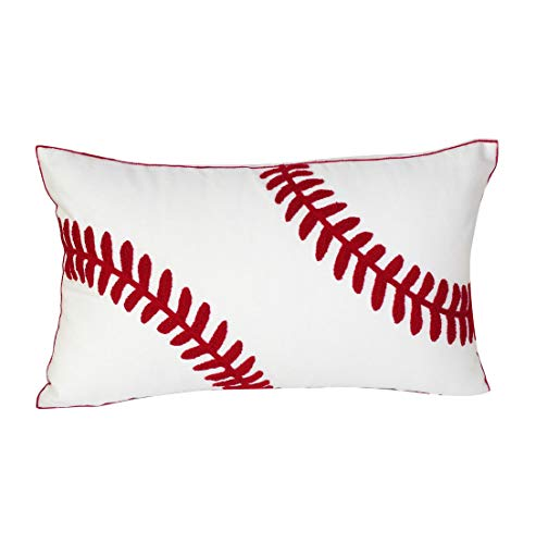 DECOPOW Embroidered Baseball Throw Pillow Covers,12 X 20 Inches Decorative Canvas Pillow Cover for Baseball Room Decor(Cover Only,Baseball 1220Inch)