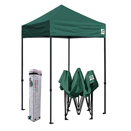 Eurmax 5x5 Ez Pop up Canopy Outdoor Heavy Duty Instant Tent Pop-up Canopies Sun Shelter with Deluxe Wheeled Carry Bag (Forest Green)