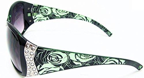 Lunettes d'Vox Polarisés Vert Femmes Avec microfibres Mode Vintage soleil Floral Fumée Rhinestone Eyewear Cadre Sac de de Lentille gratuit dtqxnwrFt