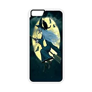 Witch and Cat Fly to the Moon IPhone 6 Plus Case, [White]