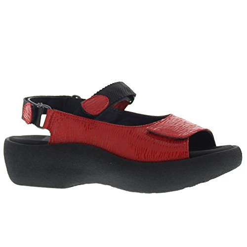 Jewel Leather Wolky 3204 Sandals Womens Canals Red qxvgP8T
