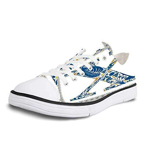Canvas Sneaker Low Top Shoes,Letter X Nature Inspired Arrangement Flowers Leaves European Style Letter Print Decorative Man 10