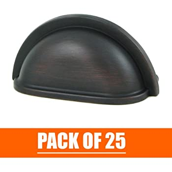 """Stone Mill Hardware - Oil Rubbed Bronze Cup Pull - 25-Pack - CP1499-OB-K25 - 3"""" Hole to Hole Spacing"""