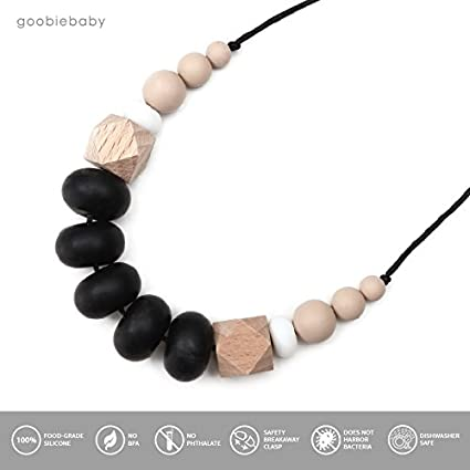 Goobie Baby Harper Silicone Teething Necklace for Mom to Wear Safe BPA Free Beads to Chew Teething Necklace, Mint//Grey