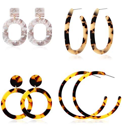 Fiasaso 4 Pairs Acrylic Resin Earrings Bohemian Drop Dangle Earrings Stud Hoop Earrings Set For Women Fashion - Piercing Studs Second Earrings