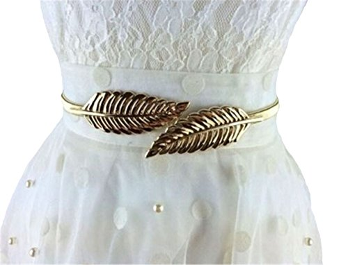 HENGSONG Women Fashion Metal Gold Silver Chain Leaf Waist Belt Charm (Charm Chain Belt)