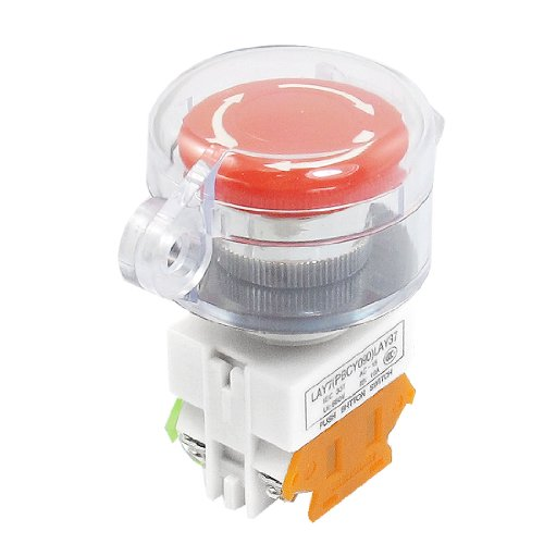 uxcell Self Locking Contact Clear Cover Protection Red Push Button Switch NO/NC
