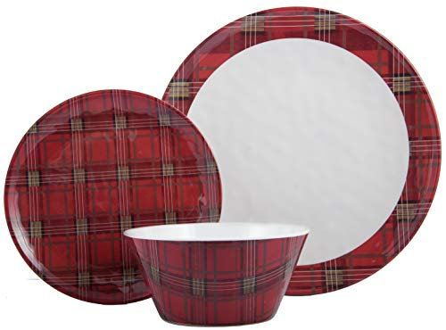 Plate Melamine 10.5 (Melange 608410091399 18-Piece 100% Dinnerware Set for 6 Christmas Collection-Red Plaid Shatter-Proof and Chip-Resistant Melamine Dinner, Salad Plate & Soup Bowl (6 Each), 10.5