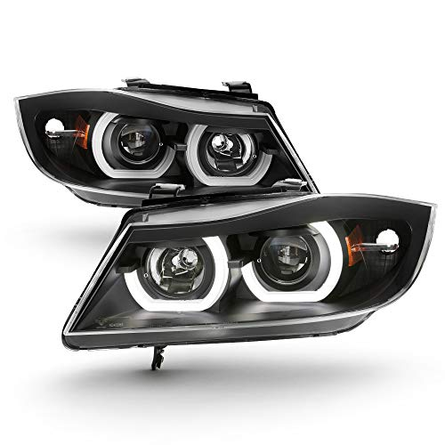 ACANII - For [Halogen Model Only] 2006-2008 BMW E90 3-Series Sedan LED 3D Tube Projector Headlights Black Headlamps Pair