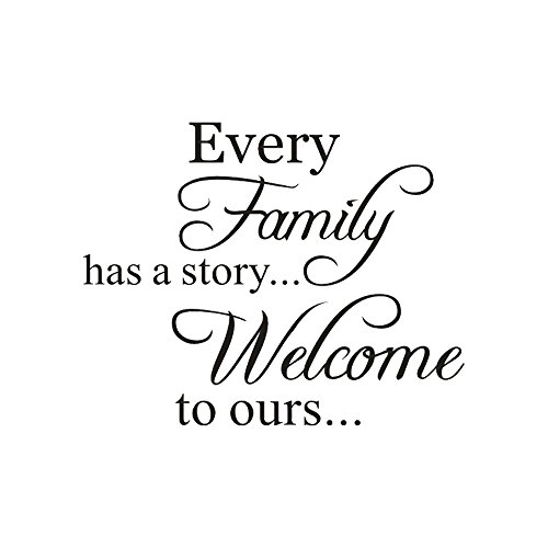 Letter Stickers -Every Family Has a Story Removable Art Vinyl Mural Home Room Decor Wall Stickers (Black, 46x36cm)