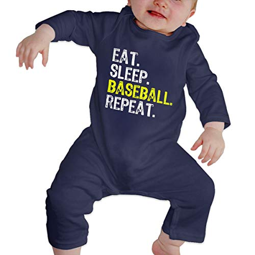 Love Taste Eat Sleep Baseball Repeat Unisex Baby Boy Girl Organic Cotton Bodysuits Long-Sleeve Onesies, Navy