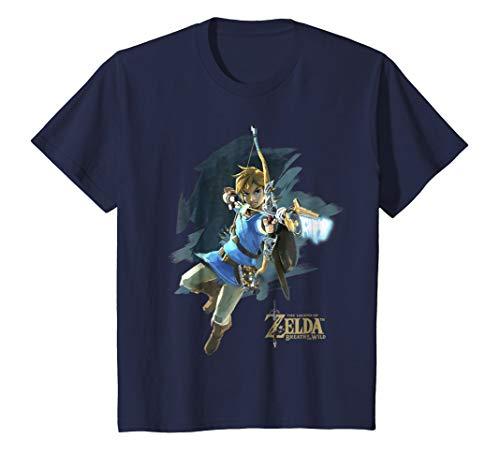T-shirt Shot Youth (Kids Zelda Breath Of The Wild Link Jump Bow Shot Graphic T-Shirt 10 Navy)