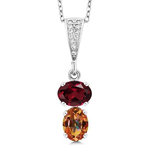 - Gem Stone King 2.72 Ct Oval Red Rhodolite Garnet Ecstasy Mystic Topaz 925 Sterling Silver Pendant