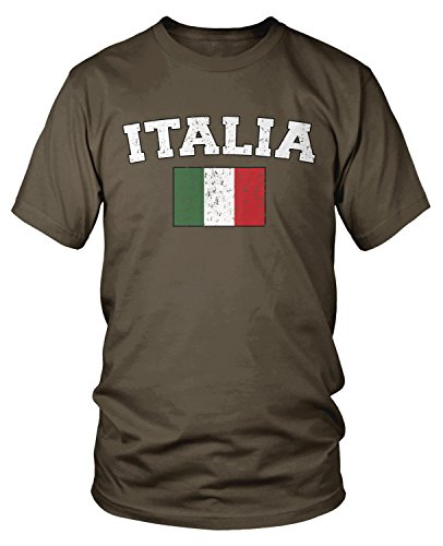 Chocolate Brown Italian - Amdesco Men's Italian Flag, Flag of Italy, Love Italia T-shirt, Dark Chocolate Small