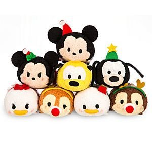 RARE Disney Store Exclusive Mini Tsum Tsum (Japan) Stackable Plush Featuring Holiday Mickey and