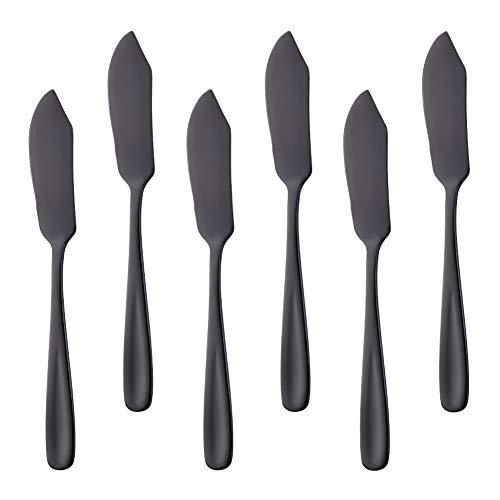 Bisda Stainless Steel Cheese Dessert Knives, Set of 6, Breakfast Butter Knife, Slicer Sandwich Spreader (Black) (Black Dessert Knife)