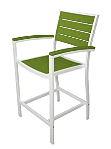 "41"" Earth-Friendly Recycled Patio Counter Chair - Lime Green with White Frame"