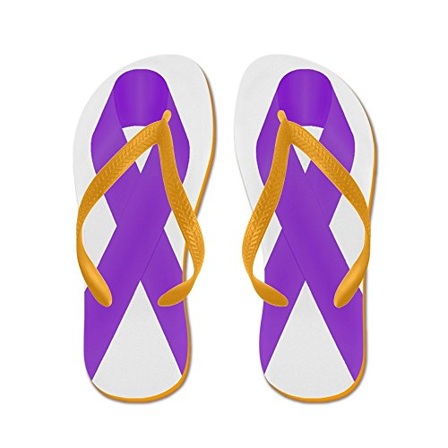 CafePress Purple Awareness Ribbon - Flip Flops, Funny Thong Sandals, Beach Sandals Orange