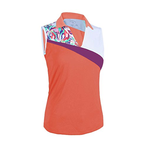 Monterey Club Ladies Dry Swing Water Fountain Contrast Coloblock Sleeveless Shirt #2345 (Peach Pink/White, X-Large) (Colorblock Golf)