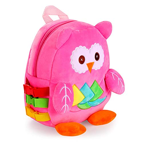 Owl Toddler Backpack with Buckles & Crinkle Paper and Squeakers, Early Learning Toy for Developing Basic Life Skills, Kids Plush Bookbag Children's Travel Bag, Ideal Gift for 1-5 Years Baby Boys Girls