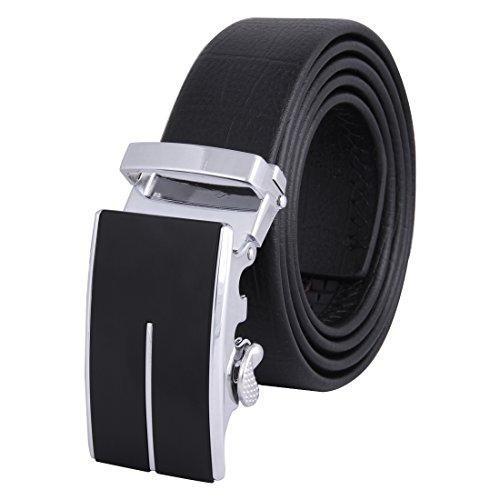 JINIU Men's Leather Belt Automatic Buckle 35mm Ratchet Dress Black Belts Boxed (Arms Belt Buckle)